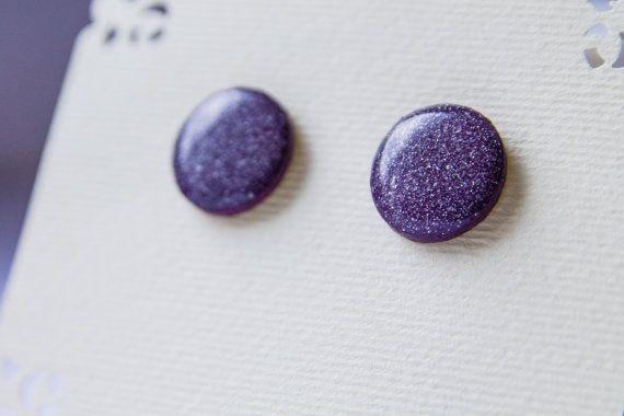 Deep violet studs violet sparkle studs  violet от JewelryBest