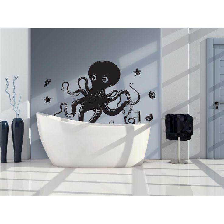 Une décoration de la salle de bains devrait être avant tout durable et résistante à l'eau. Des accessoires parfaits seront par exemple bougies parfumées, fleurs artificielles et...stickers muraux ! #sticker #stickers #stickersmuraux #pieuvre #noir #animaux #artgeist