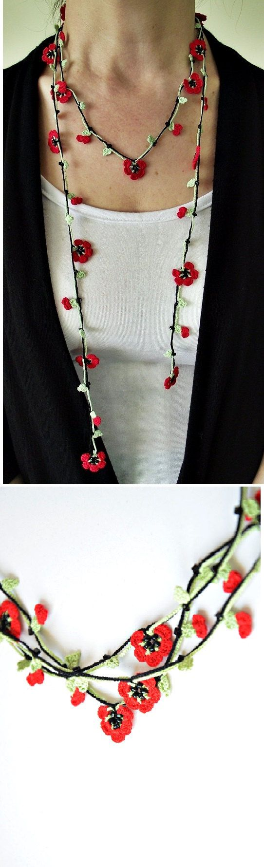 Oya crochet red necklace, Christmas wrap necklace, beaded lariat, womens gift, Turkish flower necklace! Completely handmade crochet oya necklace. Red Flowers and green leaves are made by pearl cotton thread. A unique woman accessory, fashionable gift. The leaves are in green colors and the