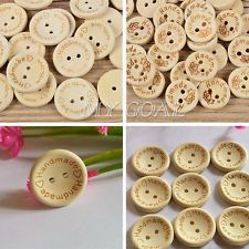 100pcs Natural Wood Handmade Heart 2 Holes Wooden Buttons Sewing Scrapbooking