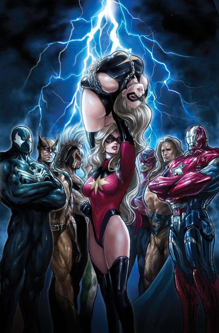 Dark Avengers (Scorpion as Venom symbiote/Spiderman, Wolverine's son Daken/Wolverine, Ares/Thor, Bullseye/Hawkeye, Sentry, Moonstone/Ms. Marvel, and Norman Osbourne/The Iron Patriot)