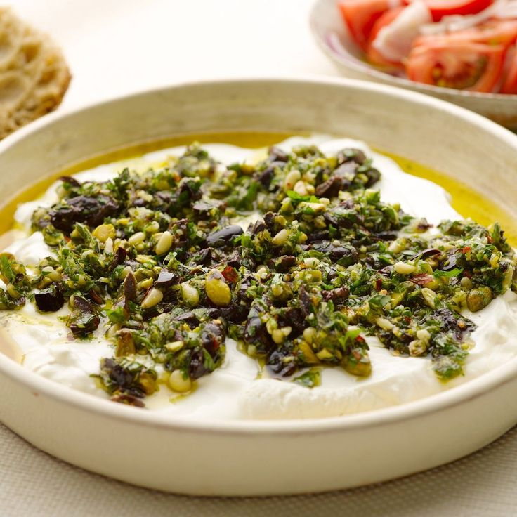 Labneh with olives, pistachios and oregano I Ottolenghi recipes online I Try your hand at turning yoghurt into a luxurious Middle-eastern cheese. It may seem a bit technical but it isn't really, providing you get started a day ahead.  Serve the labneh wit