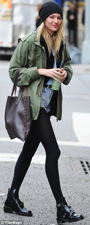 Candice Swanepoel.. sheer stockings + khaki jacket + denim tear-away shorts.. booties.. city chic.. Even toned down, she's adorable.