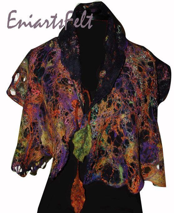 Art felt scarf  collar  Lace felt  Fiber art unique by EniartsFelt