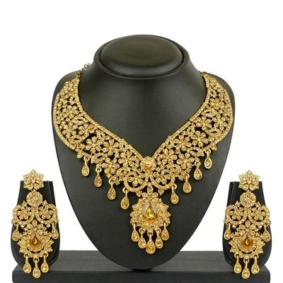 Shop VK Jewels Delight Drops Gold Plated Necklace with Earrings Online - Shopclues