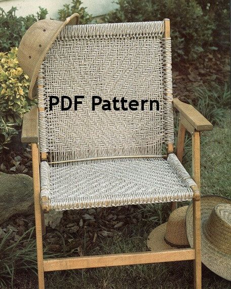 Ooooh, Gotta get this pattern so I can upcycle/repair those old broken chair frames in the shed. Vintage 1980's Macrame Chair Pattern in a classic Herringbone design. by BubbleGumInTheMail, $2.50