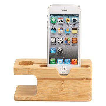 Bamboo Wood Charging Station Holder For Apple Watch 38/42mm iPhone 7/7 Plus 6/6s Plus 5/5s/SE Sale - Banggood.com