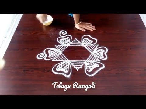 easy muggulu with 5-3 interlaced dots ll simple kolam designs with dots ll easy rangoli designs - YouTube