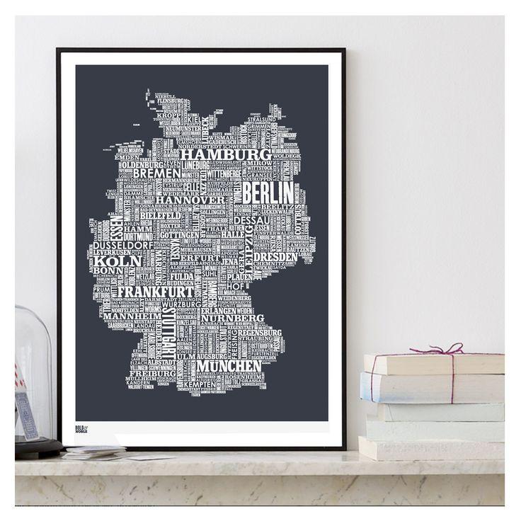 Material: 250g Papier aus 100% recyceltem Material (off white) Farbe: Sheer Slate / Dunkelgrau Größe: B50xH70cm Lieferung ohne Rahmen passt in Standardrahmen z.B. von Ikea  hergestellt in England