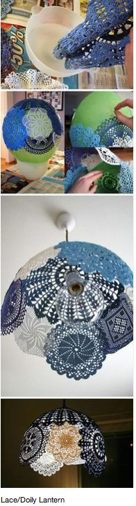 how to make a doily lamp shade