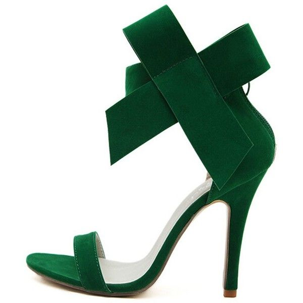 Green Bowknot Embellishment Suedette Barely There Heeled Sandals ($34) ❤ liked on Polyvore featuring shoes, sandals, decorating shoes, green shoes, green sandals, embellished shoes and embellished sandals