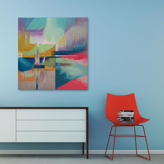 Geometric Wall Art, Ship Painting - boat floating on abstract background, reflecting in calm waters. Artwork based on sipmle but smart geometrical composition, abstract in colors. There is variation of parallel horozontal lines and round shapes reminding of waves. Dominant colors: ochre, red, dark blue