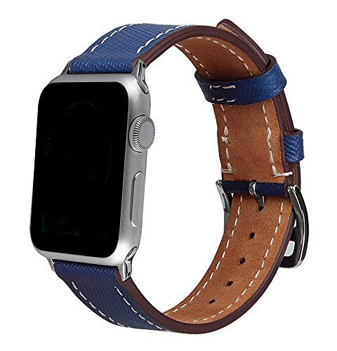 Apple Watch Band 42mm,Voken Genuine Leather iwatch Strap Replacement Band with Stainless Metal Clasp for Apple Watch Series 3/2/1 Sport and Edition (42mm Leather Navy Blue) #Apple #Watch #Band #mm,Voken #Genuine #Leather #iwatch #Strap #Replacement #with #Stainless #Metal #Clasp #Series #Sport #Edition #Navy #Blue)