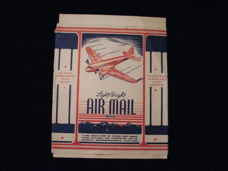 Vintage Air Mail Light Weight Typing Typewriter Paper w Original Airplane Sleeve | eBay