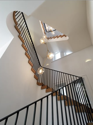 staircase with light fixture