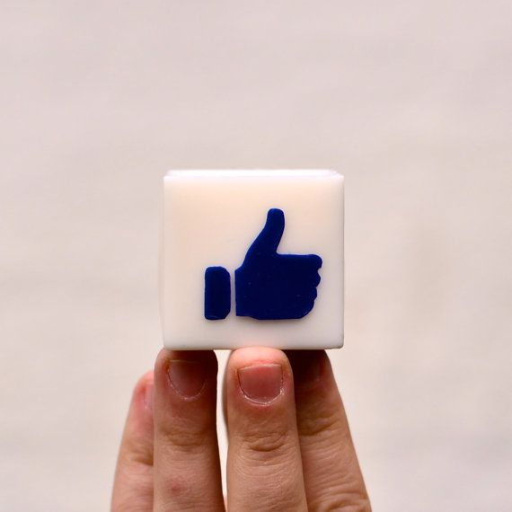 Like Candle, Facebook sign, Thumb up Graphic, Cute Office decor, White Shaped Rapeseed Wax present, Unscented Square Candle, Fun decoration