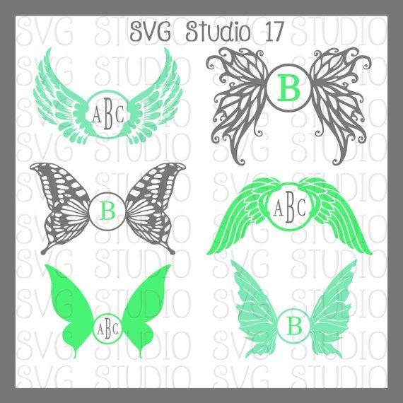 Wings SVG Monogram Frames #Butterfly Wings #Angel Wings #fairy #WIngs #SVGStudio17