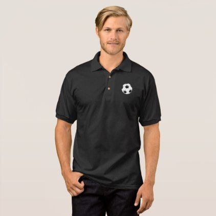 Black and White Soccer Ball Logo Sports Polo Shirt - black gifts unique cool diy customize personalize