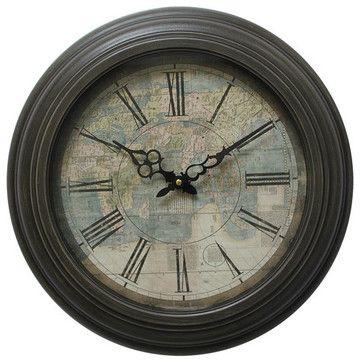 Yosemite CLKA9A114MD Circular Iron Wall Clock Has Map Print Black Iron Frame transitional-wall-clocks
