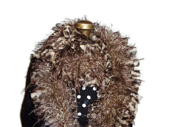 Ribbon Scarf Animal Print & Brown Fun Fur by chrysalisjewelrytx, $35.99