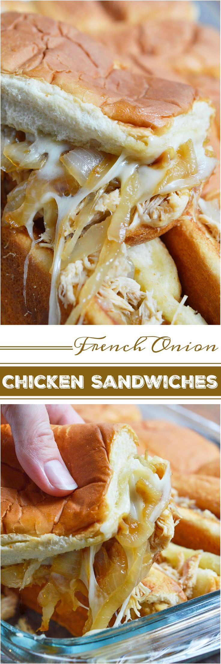 #ad These Cheesy French Onion Chicken Sandwiches are the ultimate party or game day food! Soft rolls loaded up with slow cooker chicken, caramelized onions and loads of melt cheese. This is the perfect recipe to feed your hungry crowd! #RealCheesePeople