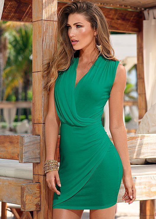 Draped surplice dress in the VENUS Line of Dresses for Women