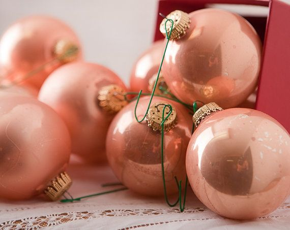 Peach vintage christmas glass ornaments pink peach matte - Blush pink christmas decorations ...