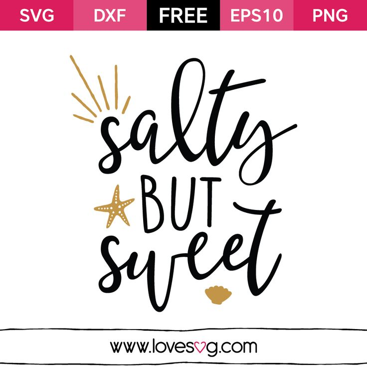 Salty but Sweet - Free SVG cut files - Summer Quote - Sea - Beach