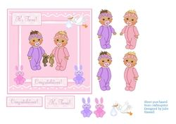 New Baby twin girls congratulations card on Craftsuprint - View Now!