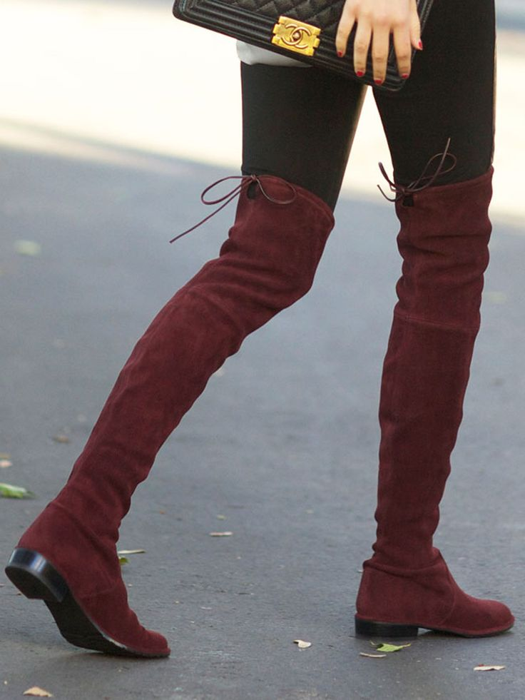 Burgundy Lacing Back Stretched Suede Over The Knee Boots | Choies