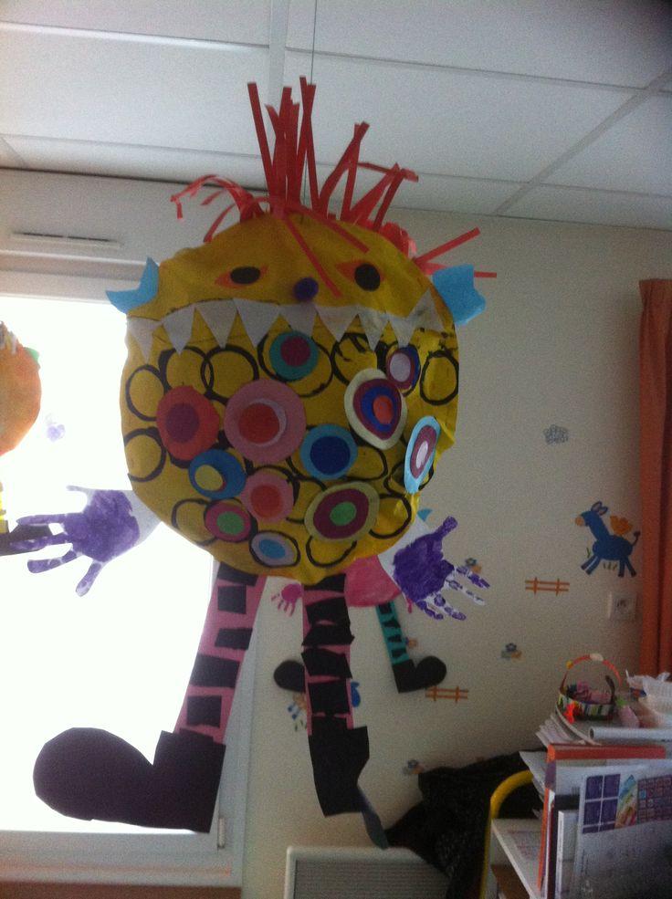 Monstre à suspendre: mains des enfants et peinture+collage ronds; fond encre et dents collage;cheveux frisons broyeur à papier