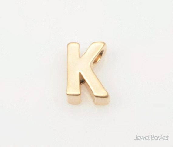 "Matte Gold Alphabet - 2pcs Capital Letter ""K""  - Matte Gold Plated (Tarnish Resistant) - Brass / 4.8mm x 7mm  - 2pcs / 1pack"