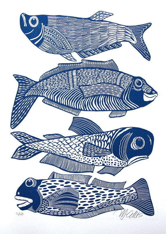 linocut,Four Fish,fish,blue and white,gift for him,fishing,fisherman,beach house,ocean,water,navy blue,printmaking,home interior,waves,boat