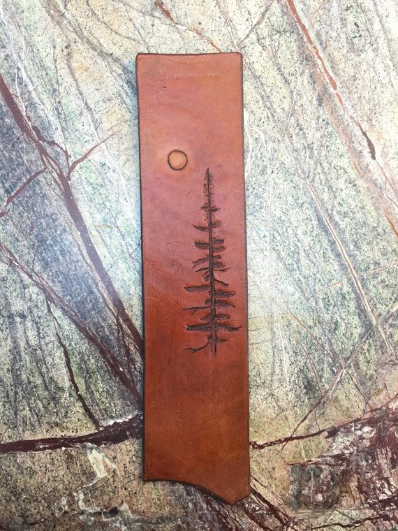 Custom Tooled Leather Bookmark  Moonlight and by AlistairLeather