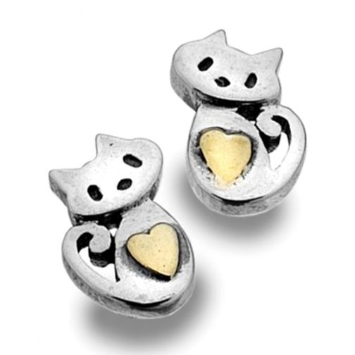 Sterling Silver Jewellery UK: Sterling Silver and Gold Sitting Cats & Heart Stud Earrings