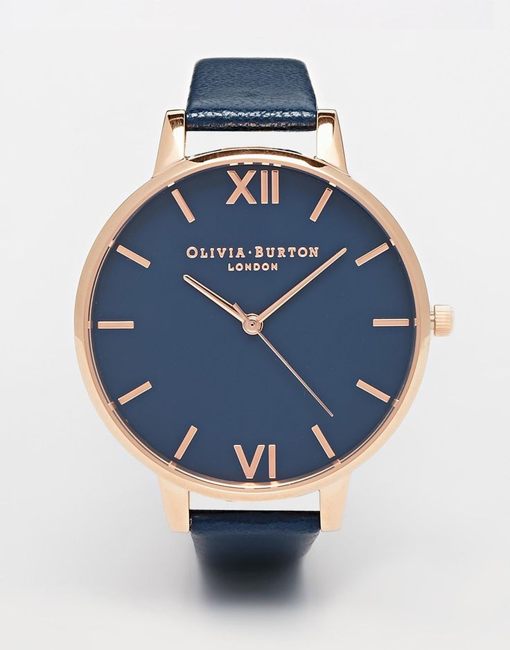Olivia+Burton+Big+Dial+Navy+Leather+Strap+Watch