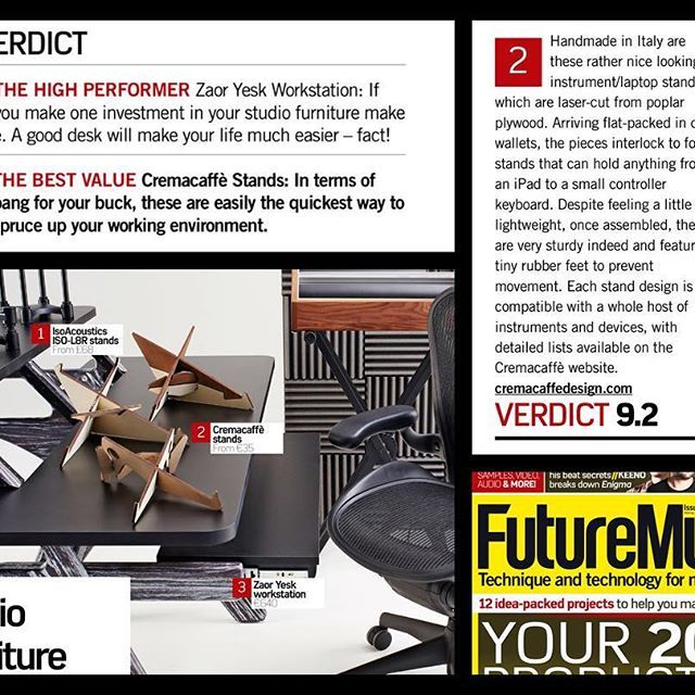 """Future Music Mag.'s verdict: Best Value (Cremacaffè tabletop stands scored 9.2 out of 10 in the Studio Furniture article, Feb.2017) """"Cremacaffè stands: in terms of bang for your buck, the quickest way to spruce up your working environment """". Thank you FM 💥❤💥!! http://cremacaffedesign.com . . . . . #cremacaffedesign #tabletop #stand #design #studiofurniture #futuremusic #electronicmusic #studiolife #bestvalue #madeinitaly"""