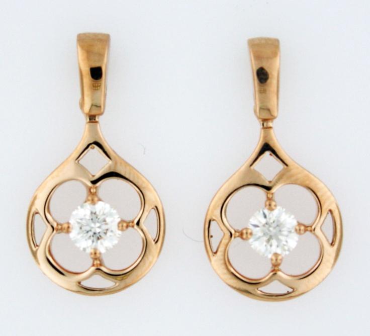 0.48ctw Hearts on Fire Diamond Copley 18K Rose Gold Drop Earrings