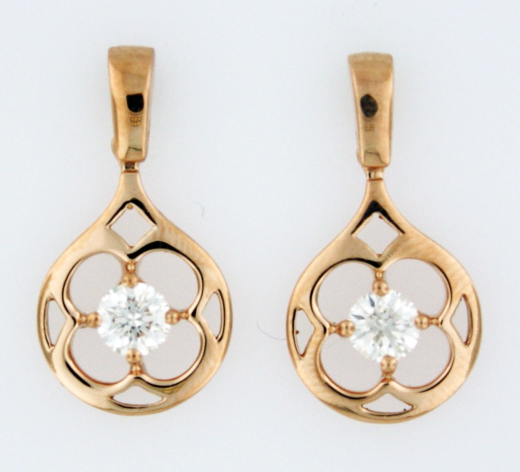0.48ctw Hearts on Fire Diamond Copley 18K Rose Gold Drop Earrings