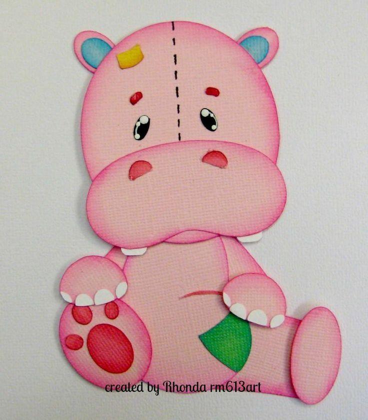Stuffed Hippo boy/girl paper piecing premade scrapbook pages -Rhonda rm613art