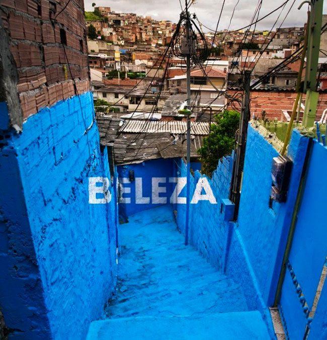 Mural  in 3D by Boa Mistura in Brasilandia Favela in Sao Paulo, Brazil