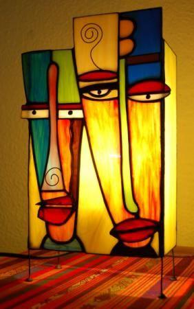 lámpara de sobremesa de vidrio  vidrio,estaño,cobre tiffany