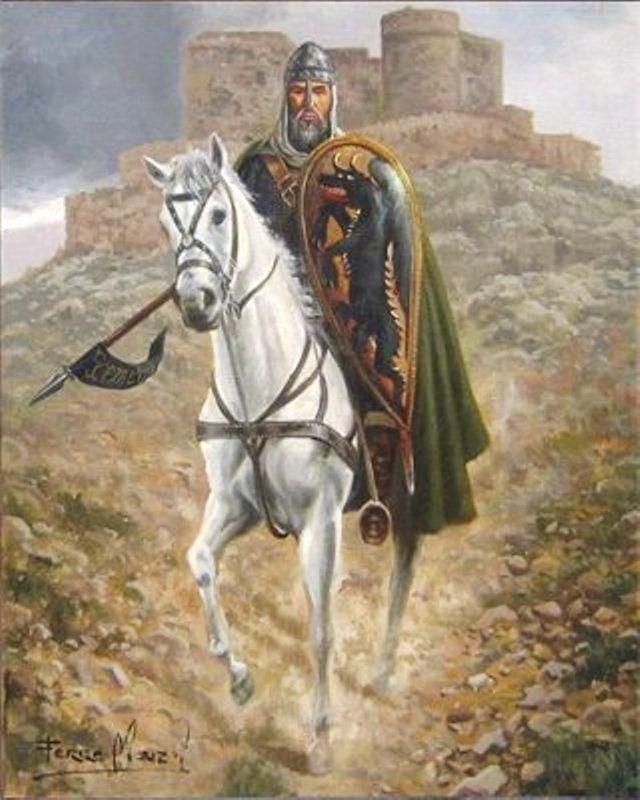 La siguiente es sobre el Cid, aunque aseguraría que el castillo que aparece al fondo es el de Consuegra, y no tengo nada claro que el Campeador pisara esas tierras... Sí su hijo, que formó parte de las huestes de Alfonso VI en la batalla contra los almorávides que en 1097 se desarrolló bajo los muros del castillo, importante derrota cristiana en la que el propio hijo del Cid cayó en combate, salvándose el Rey al encerrarse en la fortaleza, donde resistió durante ocho días los asaltos…