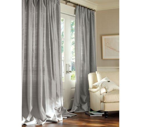 gray silk drapes PB - love for dining room!  Paint looks like Coastal Fog BM.