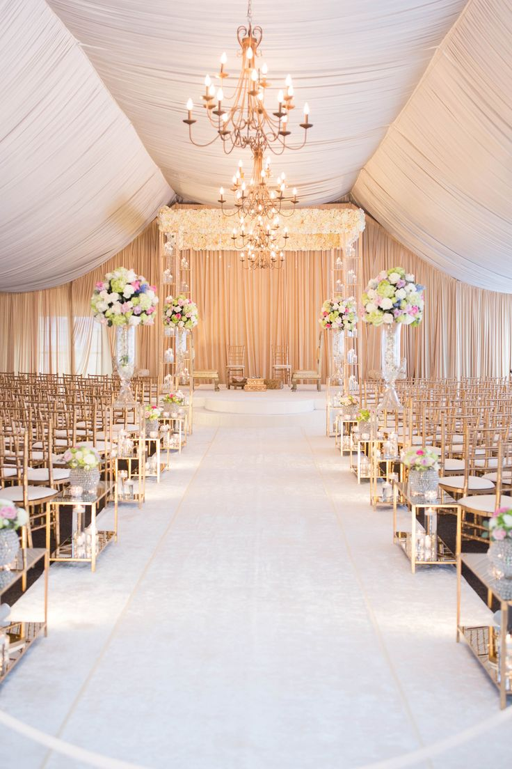 Ivory Floral Mundap With A Beautiful Lush Isle Cover This Was Created Inside Indian Wedding CeremonyWedding Ceremony DecorationsTent