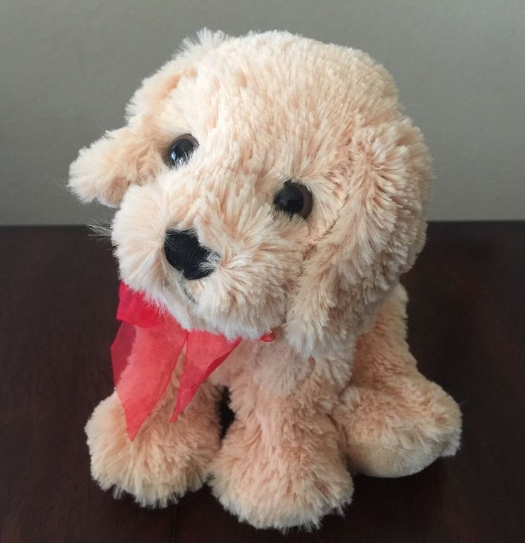 TY Pudding Golden Retriever Puppy with Red Bow 2006 Beanie Baby #Ty