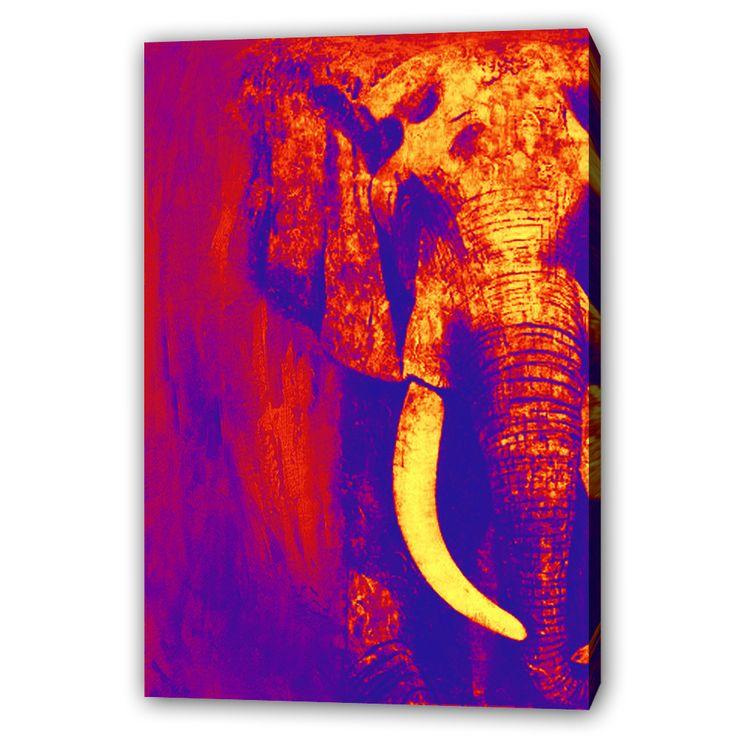 #Häftig #tavla i mörka nyanser på en #elefant. Bakgrunden smälter in med elefanten som är huvudmotivet. Kontrasten syns i elefantens fang som är elfenbensfärgad.  #Elefanten symboliserar #styrka, #lojalitet, gott minne, #tålamod, #visdom och äktenskaplig #lycka.