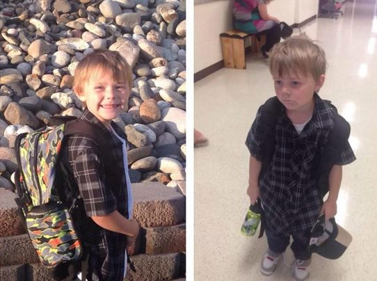 First day of school, before and after. - Imgur