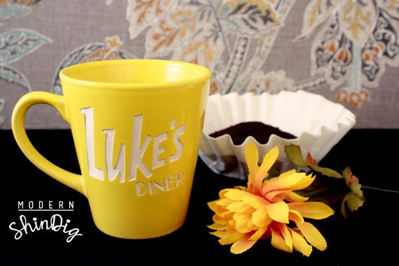 Luke's Diner Mug - Luke's Diner Inspired Coffee Mug - Engraved Permanently - Yellow Coffee Cup Luke's Diner Stars Hollow