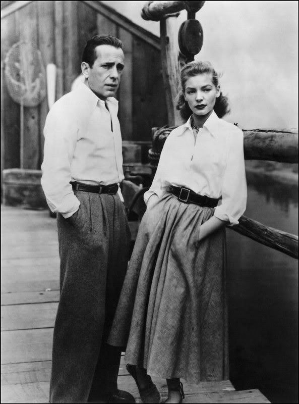 Lauren Bacall timeless look so on trend - midi skirt, menswear. she and Bogart certainly go together.